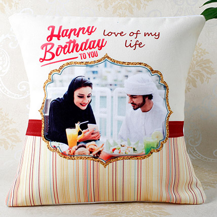 Romantic Birthday Personalized Cushion: