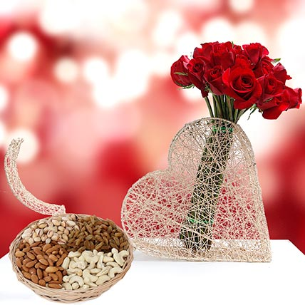 Roses Bunch and Dry Fruits Combo: Anniversary Flowers & Dry Fruits