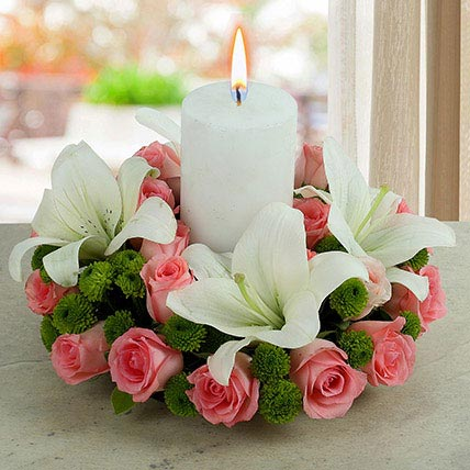 Roses N Lilies With Candle: Diwali Candles