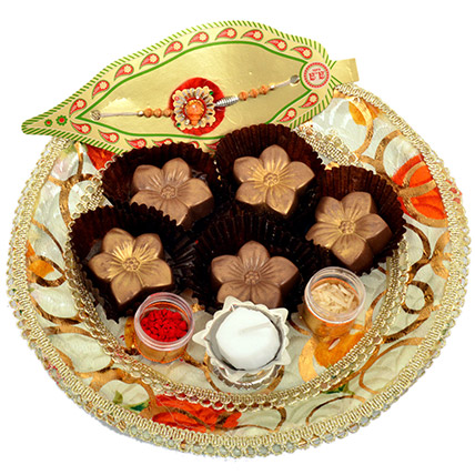 Small Raksha Bandhan Tray with Golden Flowers: Chocolates in Ajman