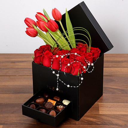 Stylish Box Of Chocolates and Red Flowers: Flower in a Box