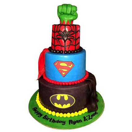 Superheroes Revisited Cake: Cartoon Birthday Cakes