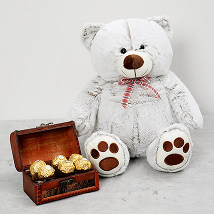 Teddy Bear and Wooden Chocolate Box Combo:
