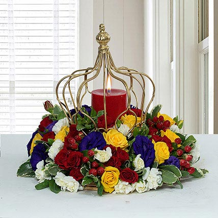 Tempting Centertable Flower Arrangement: Gifts For Doctor's Day