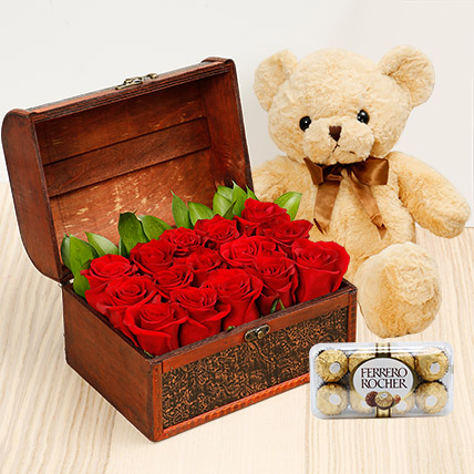 Treasure Hunt Combo: Birthday Flowers & Teddy Bears