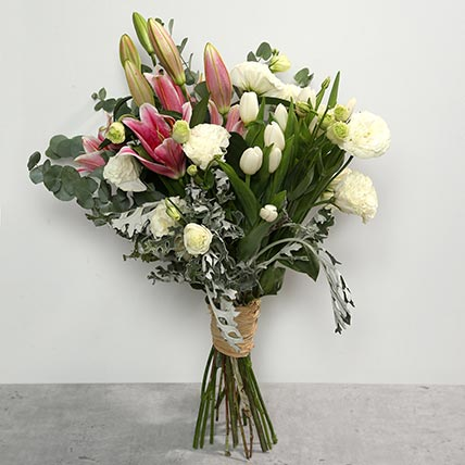 Tulips and Lilies Bouquet: Thanksgiving Day Flowers