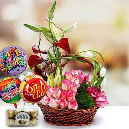 Joyful Surprise Combo: Anniversary Basket Arrangements