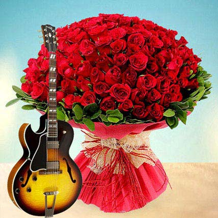 100 Reasons to Fall in Love: Valentines Day Flowers & Guitarist