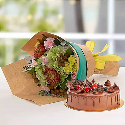 Royal Flower Bouquet With Chocolate Fudge Cake: Cake and Flower Delivery in Dubai