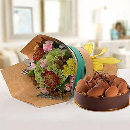 Delightful Flower Bouquet With Tiramisu Cake: Tiramisu Cake Delivery
