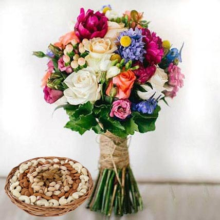 Mixed Roses Bouquet and Dry Fruits Combo: Flowers & Dry Fruits