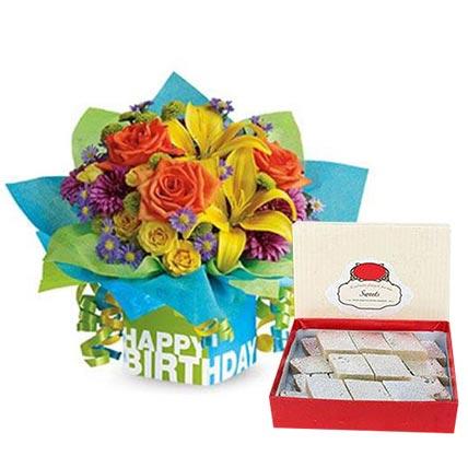 Mixed Flowers Arrangement and Kaju Katli Combo: Ramadan Flowers & Sweets