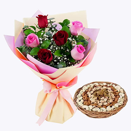 Captivating Roses Bouquet and Dry Fruits Combo: Anniversary Flowers & Dry Fruits