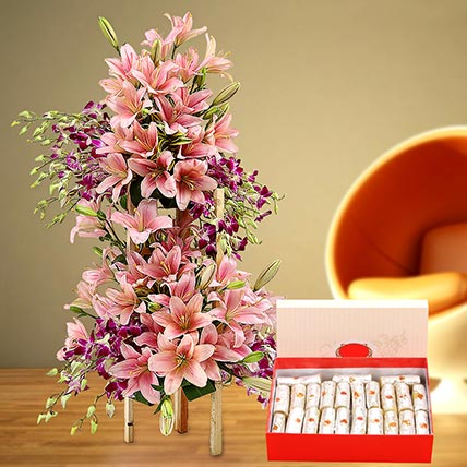 Appealing Flowers Arrangement and Kaju Roll Combo: Flowers With Sweets