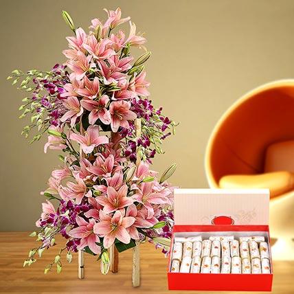 Appealing Flowers Arrangement and Kaju Roll Combo: Ramadan Flowers & Sweets