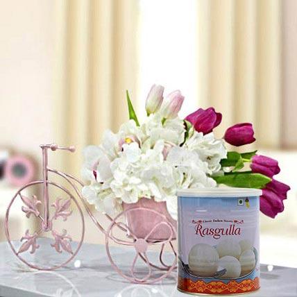 Refreshing Flowers Arrangement and Rasgulla Combo: Diwali Flowers & Sweets