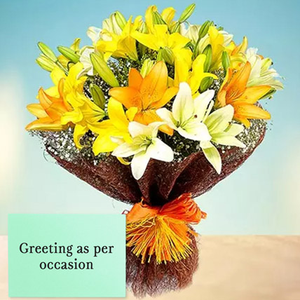 Mixed Lilies Bouquet With Greeting Card: Flowers & Greeting Cards