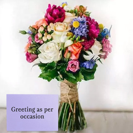Mixed Roses Bouquet With Greeting Card: New Year Flowers & Greeting Cards