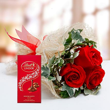 Red Roses Bouquet and Lindt Chocolate Combo: Birthday Flowers & Chocolates