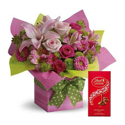 Mixed Flowers Arrangement and Lindt Chocolate Combo: