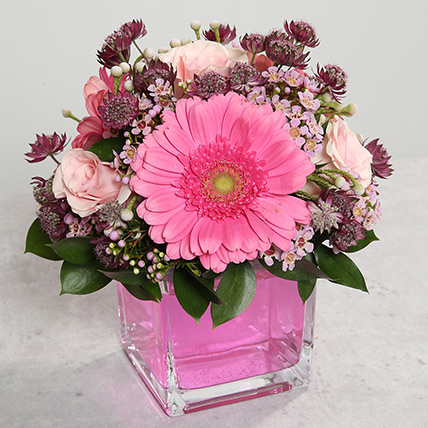 Pink Gerberas and Roses Arrangement: