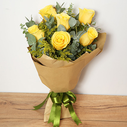 Bouquet Of Yellow Roses: Get Well Soon Flowers