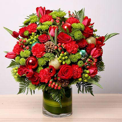 Exotic Flower Vase Arrangement: Christmas Flower Arrangements