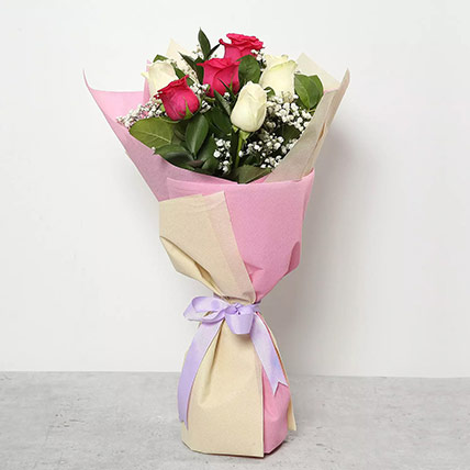Pink and White Roses Bouquet: Mothers Day Gifts to Ajman