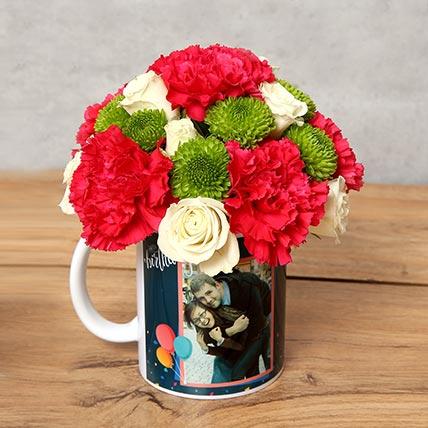 Carnations and Roses in Birthday Mug:
