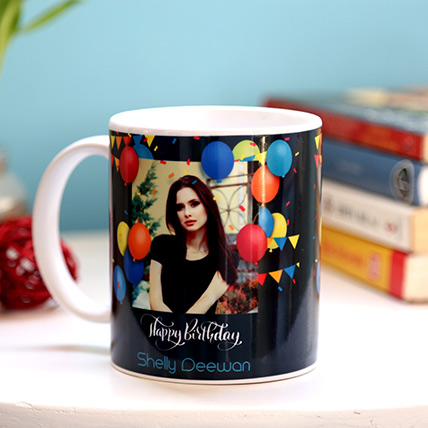 Personalised Birthday Balloons Mug: Birthday Personalised Gifts