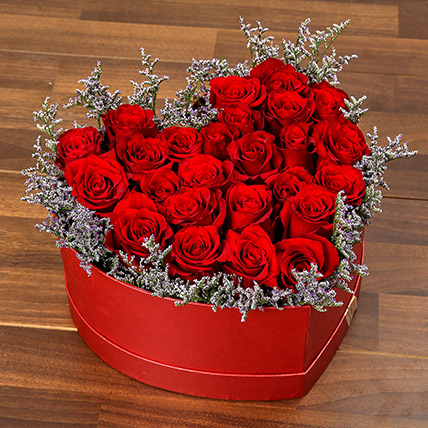 Red Roses In Heart Shape Box: Rose Day Gifts