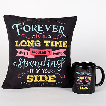 Forever By Your Side Printed Cushion and Mug Combo: Valentines Day Cushions