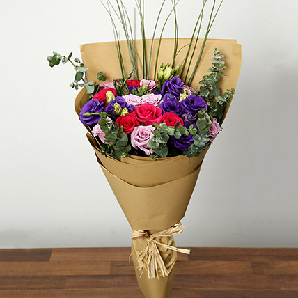 Purple and Pink Roses Bouquet: Mothers Day Flower Bouquet
