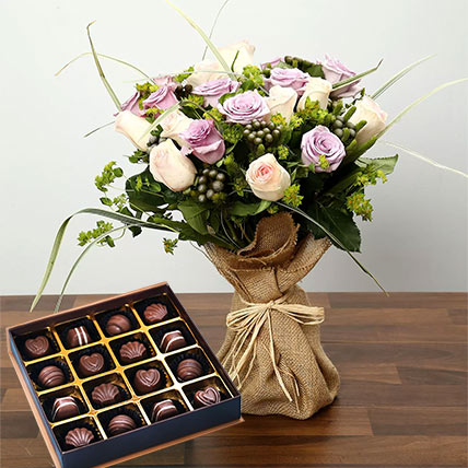 Purple and Peach Rose Bouquet With Chocolates: Flowers and Chocolate Delivery