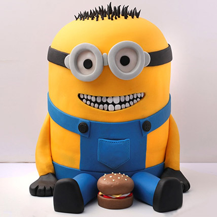 Lovable Minion With A Burger Cake 3 Kg: Minion Birthday Cake