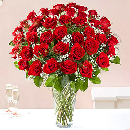 Bunch of 50 Scarlet Red Roses: Propose Day Flowers
