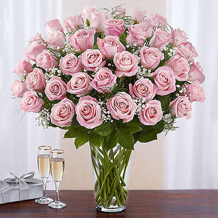 Bunch of 50 Gorgeous Pink Roses: Thank You Flowers