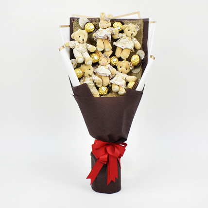 Chocolates and Teddy Bear Heart Shaped Bouquet:
