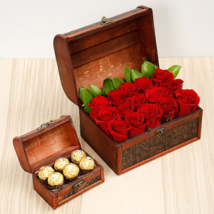 Elegant Box Of 15 Red Roses and Chocolates: Best Chocolate in Dubai