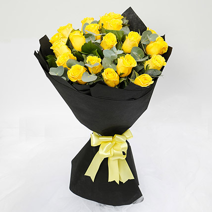 Sunshine 20 Yellow Roses Bouquet: Kiss Day Gifts