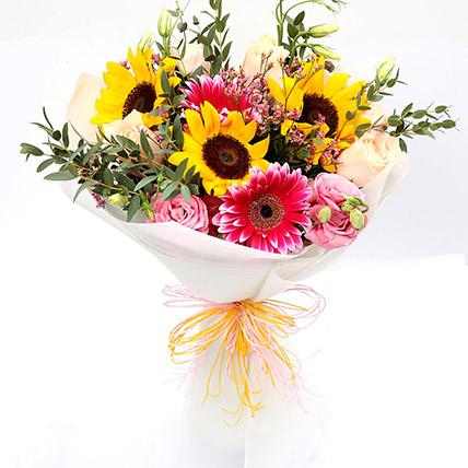 Harmonic Roses and Sunflower Mixed Bouquet: Gerberas Bouquet