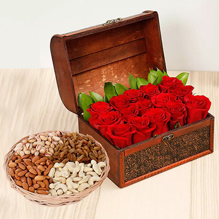 Rose Box Arrangement and Dry Fruits Combo: Anniversary Flowers & Dry Fruits
