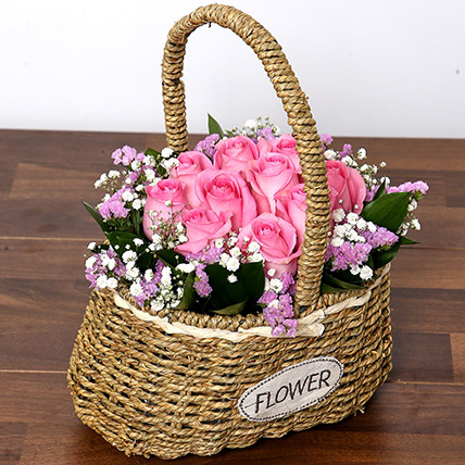 Soft Pink Roses Basket: Anniversary Basket Arrangements