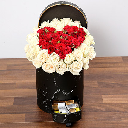 Peach and Red Rose Box With Patchi Chocolates: Rose Day Flowers & Chocolates