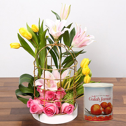 Floral Cage Arrangement and Gulab Jamun Combo: Flowers & Sweets