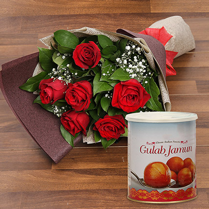 Red Roses Bouquet and Gulab Jamun Combo: Flowers & Sweets