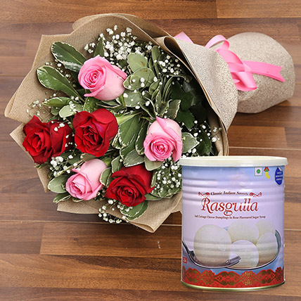 Splendid Roses Bouquet and Rasgulla Combo: Flowers With Sweets