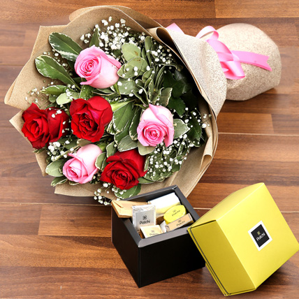 Mixed Roses Bouquet and Patchi Chocolate Combo: Anniversary Flowers & Chocolates