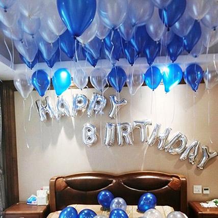 Happy Birthday Blue and Silver Balloon Decor: Birthday Gifts for Boyfriend