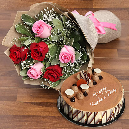 Teachers Day Flower and Cake Combo: Gifts For Teacher's Day